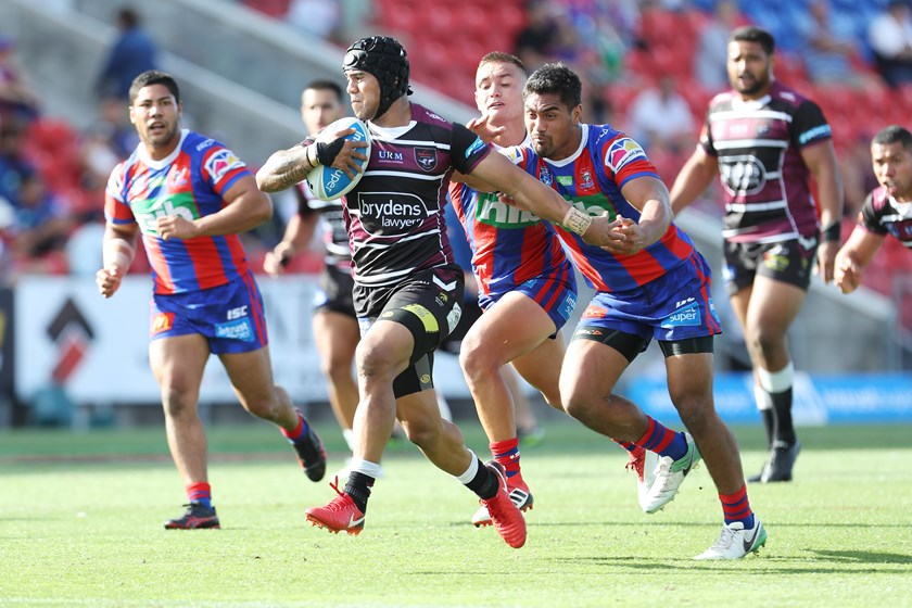 Honeti Tuha makes a line-break for the Blacktown Workers Sea Eagles.