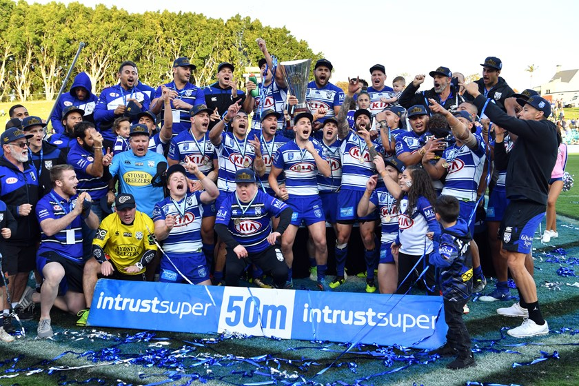 Simply The Best: The Bulldogs celebrate their Intrust Super Premiership NSW triumph