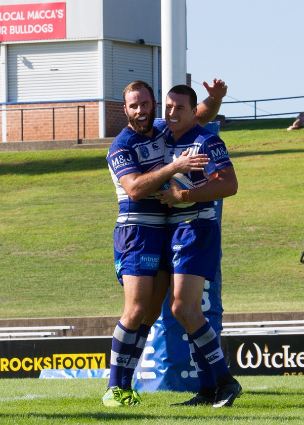 Lachlan Burr celebrates a try scored in the Canterbury-Bankstown Bulldogs' Round 5 win over the Wyong Roos.