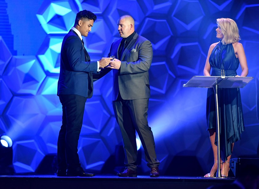 Shawn Blore accepting the NSW Under-18s Player of the Year award from coach Mark O'Meley. Photo: NRL Photos.