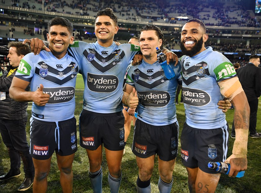 Tyrone Peachey, Latrell Mitchell, James Roberts and Josh Addo-Carr celebrate the Brydens Lawyers NSW Blues' Game One victory.