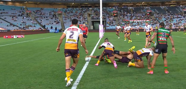 Latrell Mitchell barges over for another NRL try