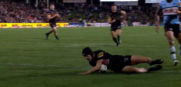 Cleary's no look pass, Luai's offload, Burton's try pass sets up Burton