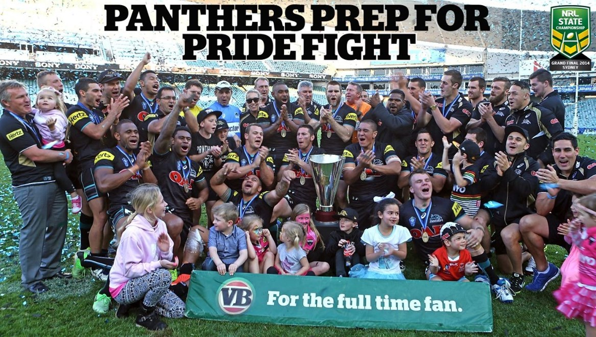 SYDNEY, AUSTRALIA - SEPTEMBER 28:  Penrith celebrate their teams win at the VB NSW Cup Grand Final match between Newcastle and Penrith at Allianz Stadium on September 28, 2014 in Sydney, Australia.  (Photo by Renee McKay/Getty Images)