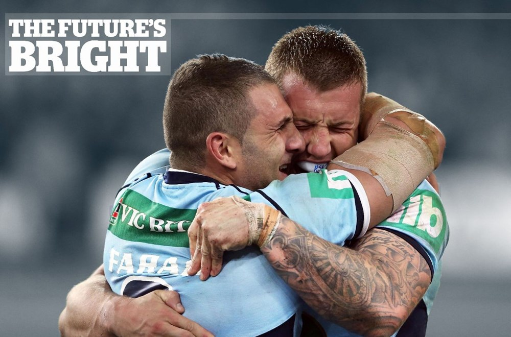 Digital Pic by Robb Cox © Action Photographics: Robbie Farah and Trent Hodkinson embrace at fulltime : State of Origin Rugby League -  2014 - NSW Vs QLD at ANZ Stadium Wednesday the 18th of June 2014.