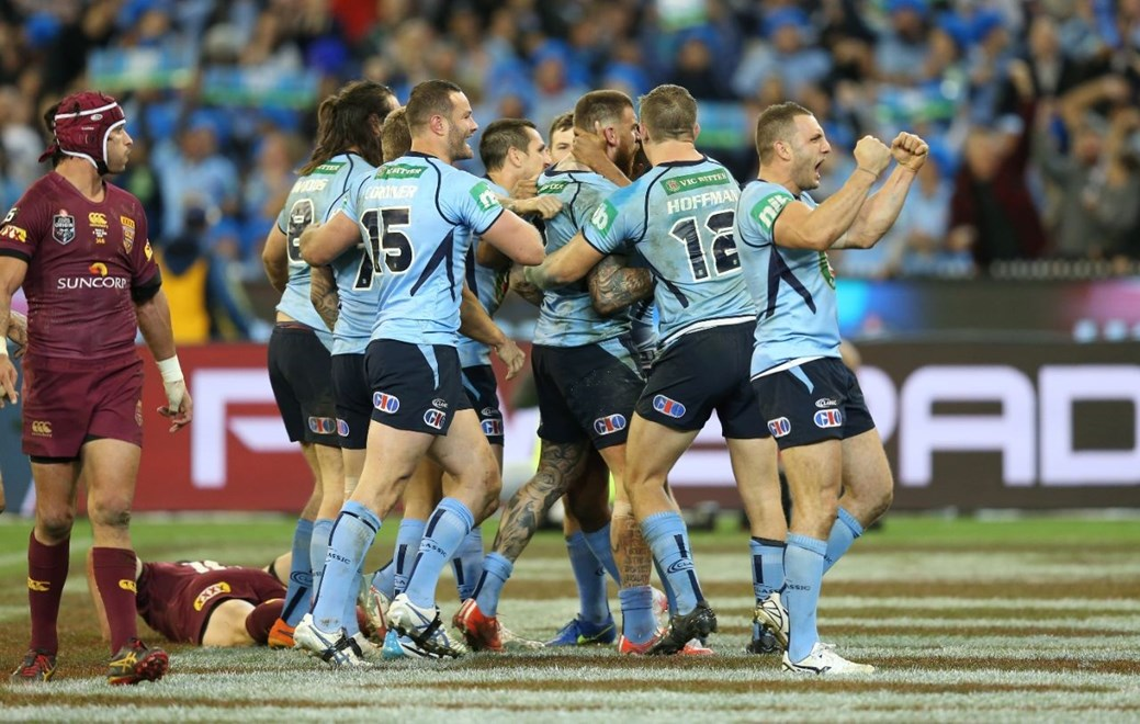 NSW Celebrate after Josh Dugan scores  :Digital Image Grant Trouville © NRLphotos  : NRL Rugby League State of Origin - Game 2 at the Melbourne Cricket Ground MCG Wednesday the 17th June  2015.