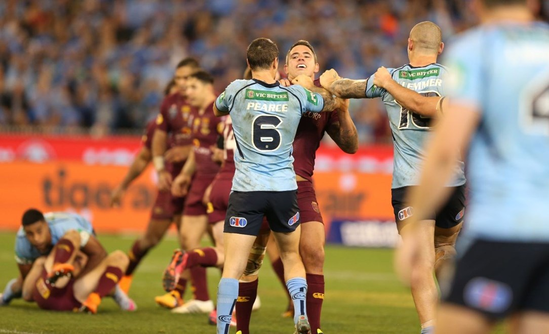 Pearce & Parker  :Digital Image Grant Trouville © NRLphotos  : NRL Rugby League State of Origin - Game 2 at the Melbourne Cricket Ground MCG Wednesday the 17th June  2015.