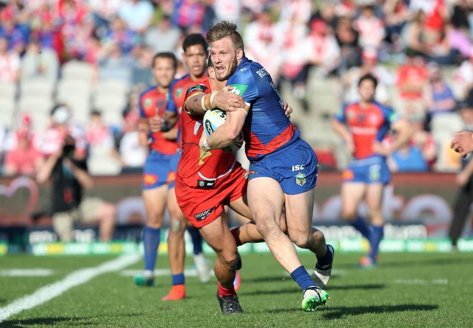 Nathan Ross : NRL Rugby League - Dragons V Knights at Kogarah Oval, Sunday 2nd August 2015. Digital Image by Robb Cox ©nrlphotos.com