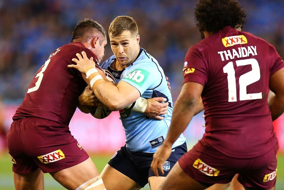 Trent Merrin of the Blues during the Second State of Origin match between New South Wales and Queensland at the MCG on June 17, 2015 in Melbourne, Australia. Digital Image by Mark Nolan.