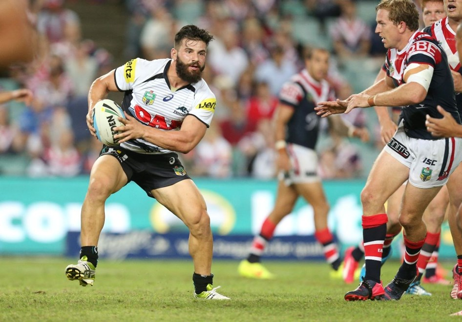 Josh Mansour attacks :Digital Image by Grant Trouvile © NRLphotos  : 2015 NRL Round 2 - Sydney Roosters v Penrith Panthers at Allianz Stadium Monday 23rd 2015.