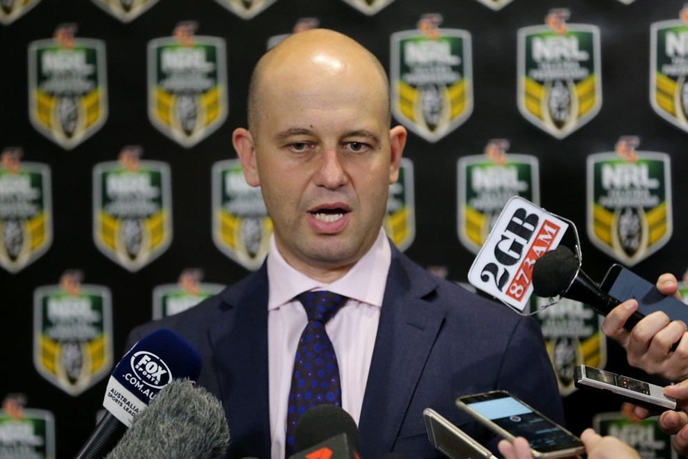 Todd Greenberg addresses the Media on the Release of the 2016 Draw, at RLC Moore Park #Media   :Digital Image by Grant Trouville ©nrlphotos.com -   NRL, Rugby League, 27th of September, 2015.