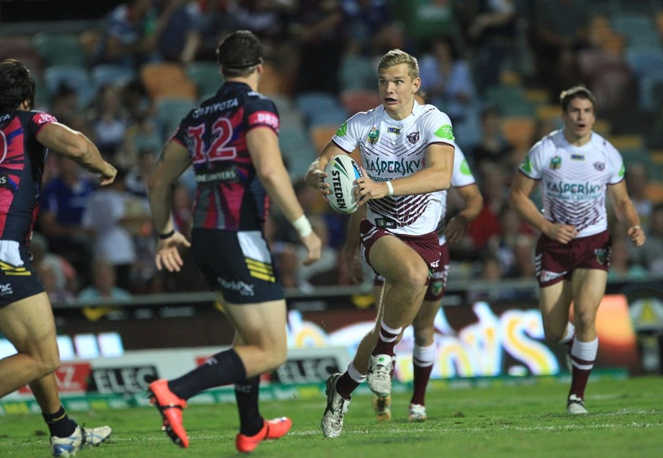 :		Digital image by Colin Whelan © copyright nrlphotos.com     Tom Trbojevic on the charge                NYC  Rugby League, Round 12, North Queensland Cowboys v Manly Sea Eagles at Townsville, Saturday May 30th 2015.