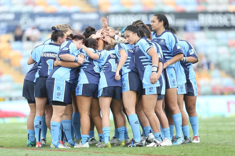NSW Huddle: 	Women's Rugby League, Interstate Challenge, NSW v Qld, at Townsville, Saturday June 27 2015. Digital Image by Colin Whelan © nrlphotos.com