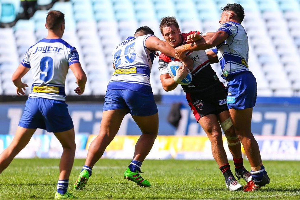 Competition - Intrust Super Premiership Round - Round 08 Teams - Canterbury Bulldogs v North Sydney Bears - 23rd of April 2016 Venue - ANZ Stadium, Homebush, NSW, Photographer - Paul Barkley