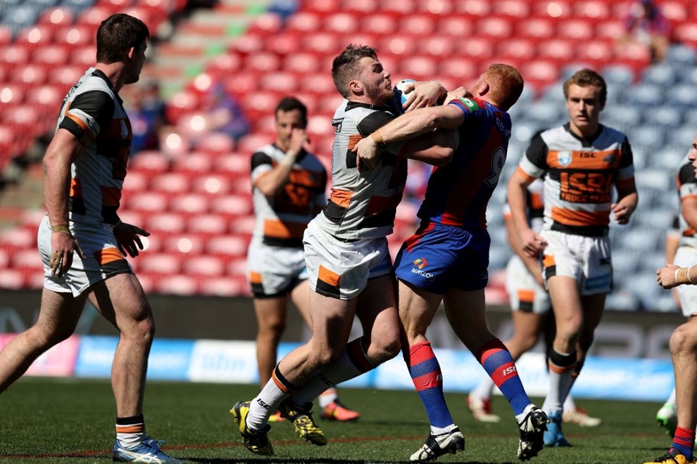 Competition - Intrust Super Premiership Round 25 Newcastle Knights v West Tigers - Sunday 28 August 2016, Hunter Stadium Broadmeadow NSW - Photographer Shane Myers © nrlphotos.com