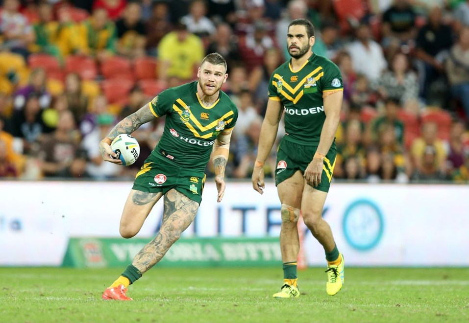 Josh Dugan Debut  :Digital Image Grant Trouville © NRLphotos  : 2015 NRL REP Round - ANZAC TEST : AUSTRALIA v New Zealand at Suncorp Stadium Brisbane, Sunaday the 3rd 2015.