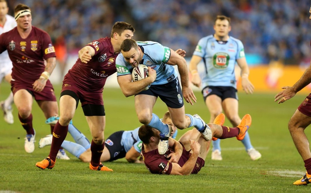 Boyd Cordner attacks  :Digital Image Grant Trouville © NRLphotos  : NRL Rugby League State of Origin - Game 2 at the Melbourne Cricket Ground MCG Wednesday the 17th June  2015.