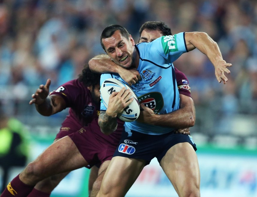 Digital Image by Anthony Johnson copyright © nrlphotos.com:  MITCHELL PEARCE : 2015 NRL State of Origin Newcastle New South Wales Blues vs Queensland Maroons at ANZ Stadium Wednesday May 27th 2015