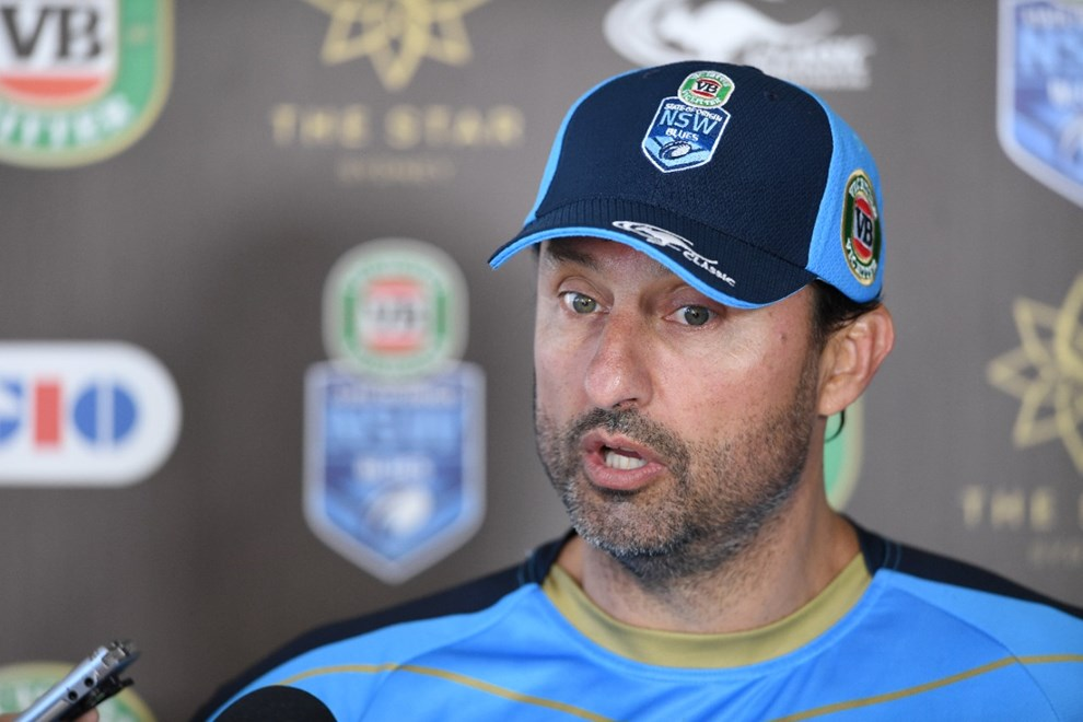Laurie Daley speaks to the media during Origin camp. Image: NRL Photos.