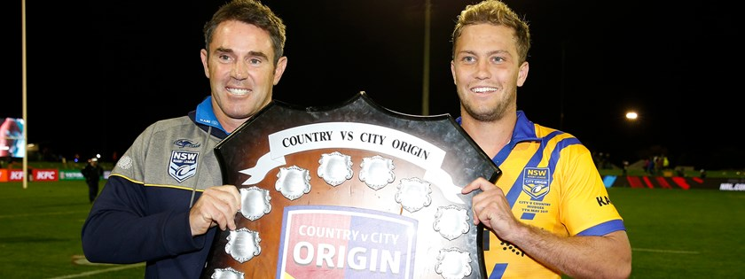 HISTORY MAKERS: Matt Moylan (R) joins Brad Fittler (L) at the last-ever Country-City Origin clash.
