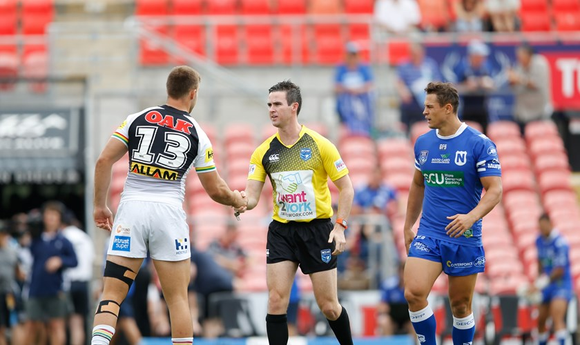 The Penrith Panthers and Newtown Jets show respect for the referee prior to their clash in the Intrust Super Premiership NSW.