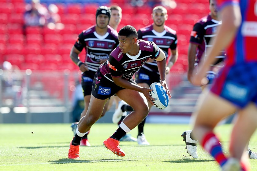 Manase Fainu looks to pass for the Blacktown Workers Sea Eagles.