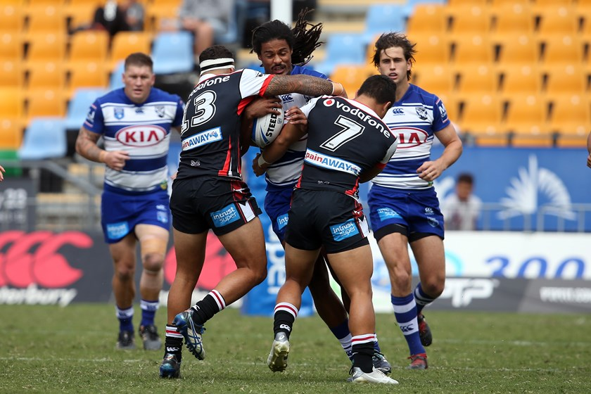 Jayden Okunbor takes a run for the Canterbury-Bankstown Bulldogs in the Intrust Super Premiership NSW.