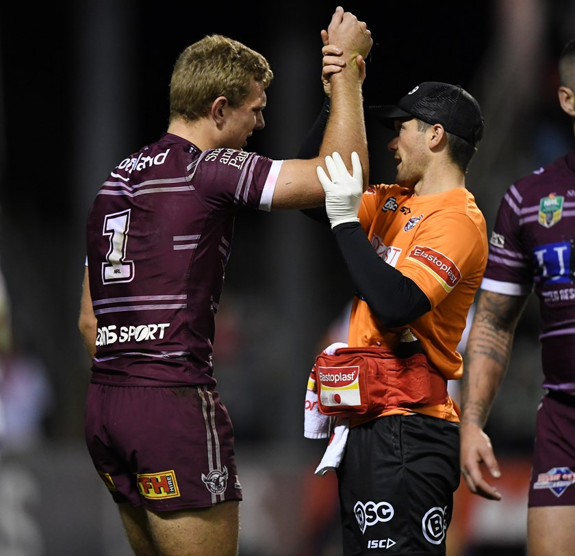 Tom Trbojevic is assessed by Manly Warringah Sea Eagles staff.