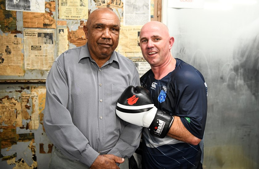 Wally Carr with Brydens Lawyers NSW Blues Performance Coach Hayden Knowles.