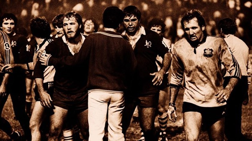 Ray Price, Wally Lewis and Arthur Beetson leave the field after the first State of Origin match in 1980.