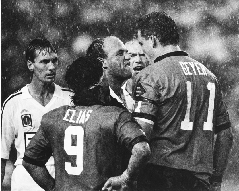 Mark Geyer and Wally Lewis come together in a famous confrontation at the Sydney Football Stadium in Origin II, 1991.