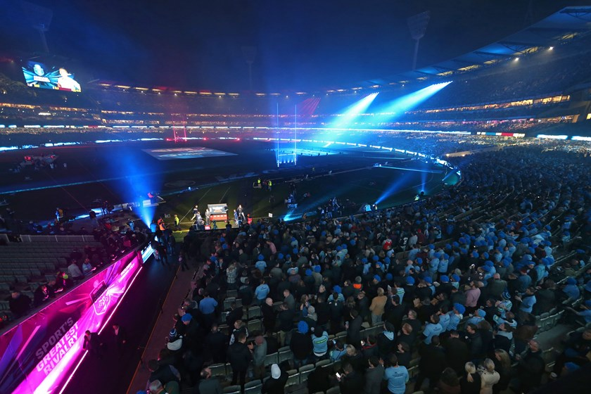 A record crowd of 91,513 people packed into the MCG for an entertaining display in Origin II, 2015.